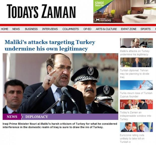Maliki's attacks targeting Turkey undermine his own legitimacy