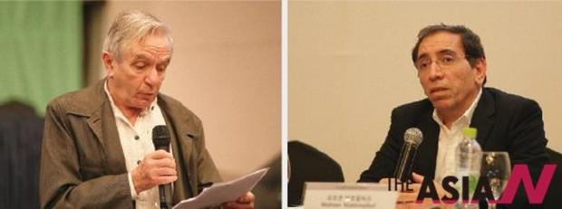 2014 부산국제영화제에 참석한 자크 랑시에르(왼쪽)와 모흐센 마흐말바프