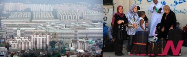 한보철강이 건설한 은마아파트전경(왼), 가자지구 남부에 위치한 라파 국경검문소에서 팔레스타인인들이 가자지구를 떠나 이집트로 향하고자 기다리고 있다.(오)