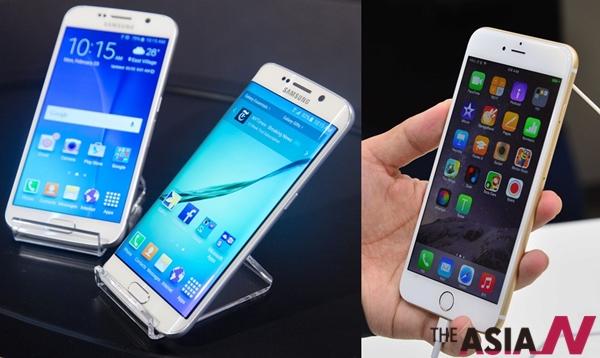 갤럭시 S6(좌)와 아이폰6(우)