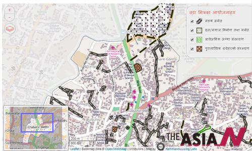 KLL은 무너진 도로와 건물 피해상황을 OpenStreetMap을 통해 알리고 있다.