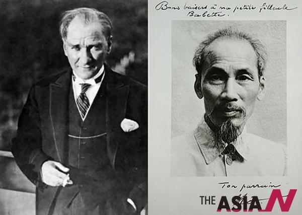 터키 초대대통령(왼쪽)과 호치민 베트남 초대대통령(오른쪽)