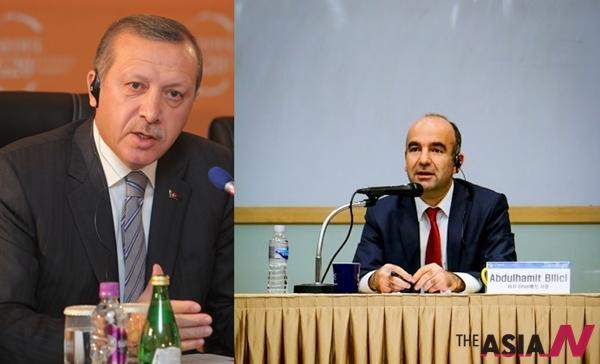 터키 에르도안 총리(왼쪽)과  사장