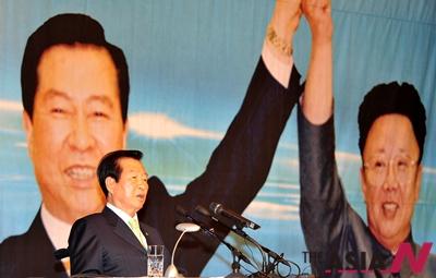 김대중 전 대통령이 2009년 6월11일 서울 여의도 63빌딩 국제회의장에서 열린 '6.15 남북공동선언 9주년'을 기념해 특별강연을 하고 있다.