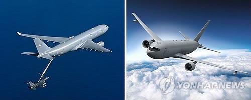 에어버스D&S의 A330 MRTT(왼쪽)와 보잉의 KC-46A