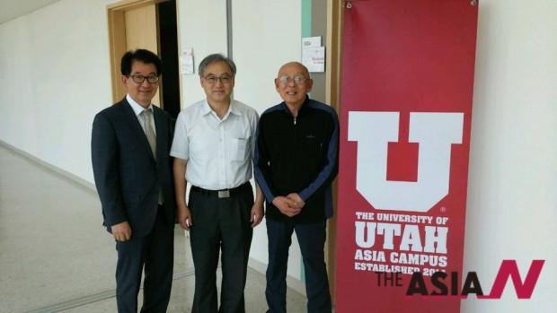 한인석 유타대학 총장(가운데)와 박상설 캠프나비 대표(오른쪽)