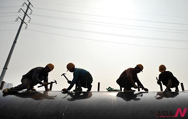 중국 난징의 노동자들