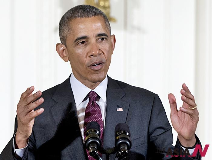 지난 6월2일 버락 오바마 미국 대통령이 워싱턴 백악관의 이스트룸에서 연설하고 있다. 오바마 대통령은 3일(현지시간)  라디오 방송 '마켓플레이스'와의 인터뷰에서 중국의 환태평양경제동반자협정(TPP) 가입 가능성을 언급했다.