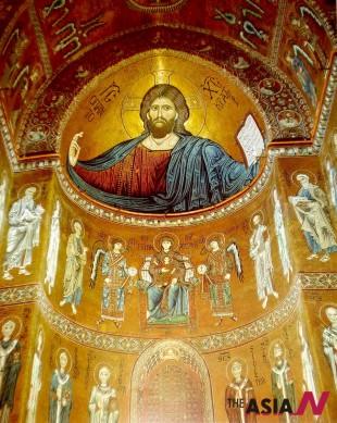 이탈리아 시칠리아 몬레알레 대성당의 그리스도. 12세기 작.