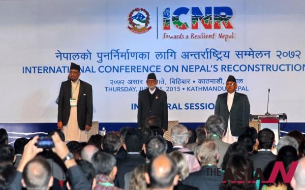 Prime Minister Sushil Koirala (centre), Finance Minister Dr
