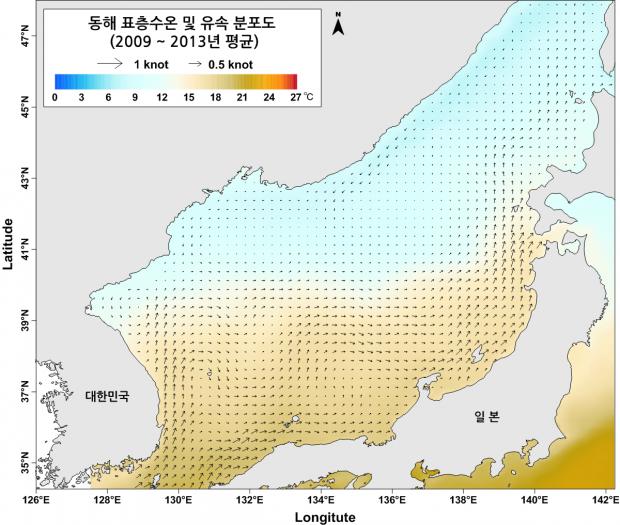 동해 표층수온 및 유속분포도
