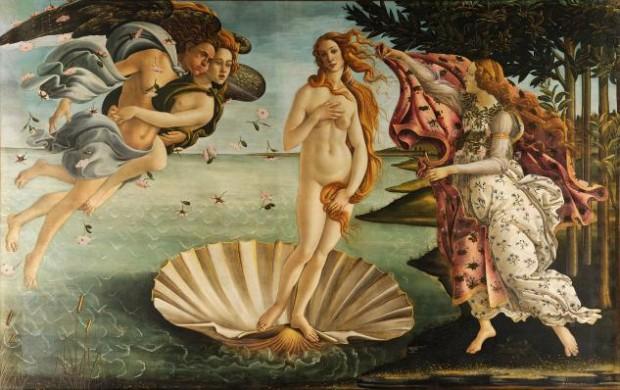 보티첼리(Sandro Botticelli), 비너스의 탄생(The Birth of Venus), 1486. 피렌체 우피치 미술관(Uffizi, Florence)