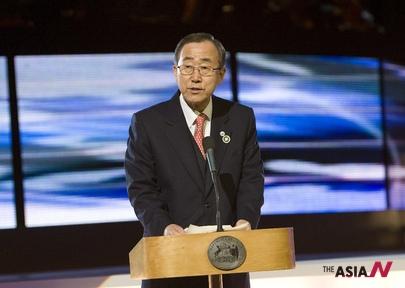 지난 2007년 반기문 유엔 사무총장이 남극을 방문에 연설하는 모습