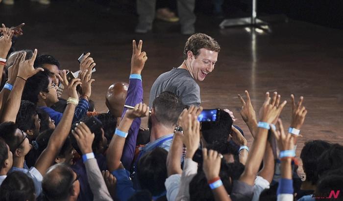 지난 28일 인도델리공과대학에 학생들과 대담을 나눈 마크 주커버그 페이스북 CEO