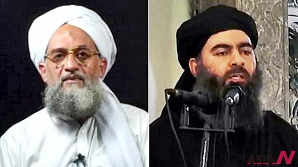 알카에다 지도자 아이만 알자와히리(왼쪽)는 9일(현지시간) 인터넷을 통해 공개한 음성메시지에서 IS의 지도자 아부 바크르 알바그다디(오른쪽)를 비난했다.