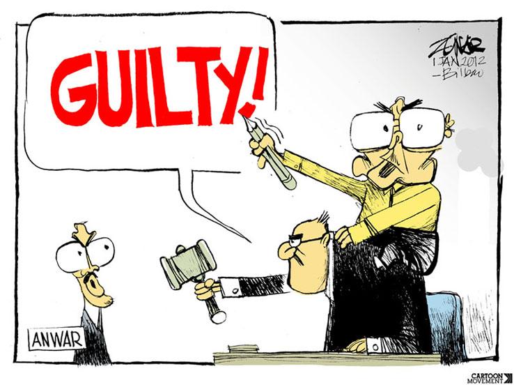 주나르 만평가가 그린 정부 비판 만화. 안와르 이브라힘 말레이시아 야권 지도자의 동성애 혐의 판결을 비판하는 내용을 담고있다.