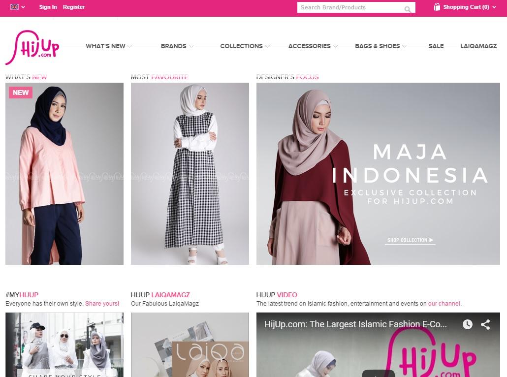 무슬림 여성 패션의류 온라이쇼핑몰 '히즈업'(Hijup) 홈페이지