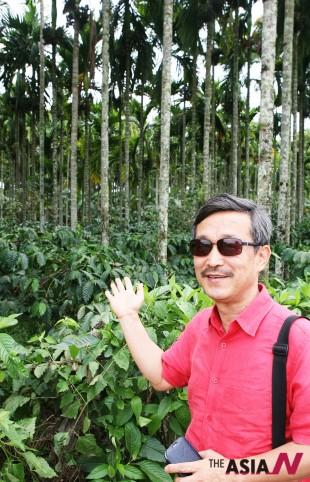 1600년경 순례자 바바 부단이 예멘에서 몰래 들여온 커피씨앗으로 재배에 성공함으로써 인도를 커피생산 명소로 부상시킨 토대가 됐던 마이소르 커피밭에서 김대균 CCA인도협회장이 팜나무 그늘에서 자라고 있는 커피나무를 소개하고 있다.