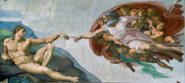 아담의 창조(The Creation of Adam, 1511~1512). 미켈란젤로 作