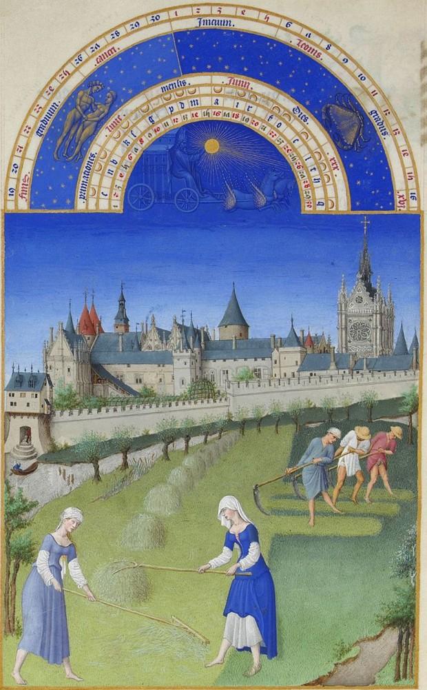베리 공작의 귀한 시절 그림(Tres Riches Heures du Duc de Berry, 1413~1416). 림부르그 형제 作