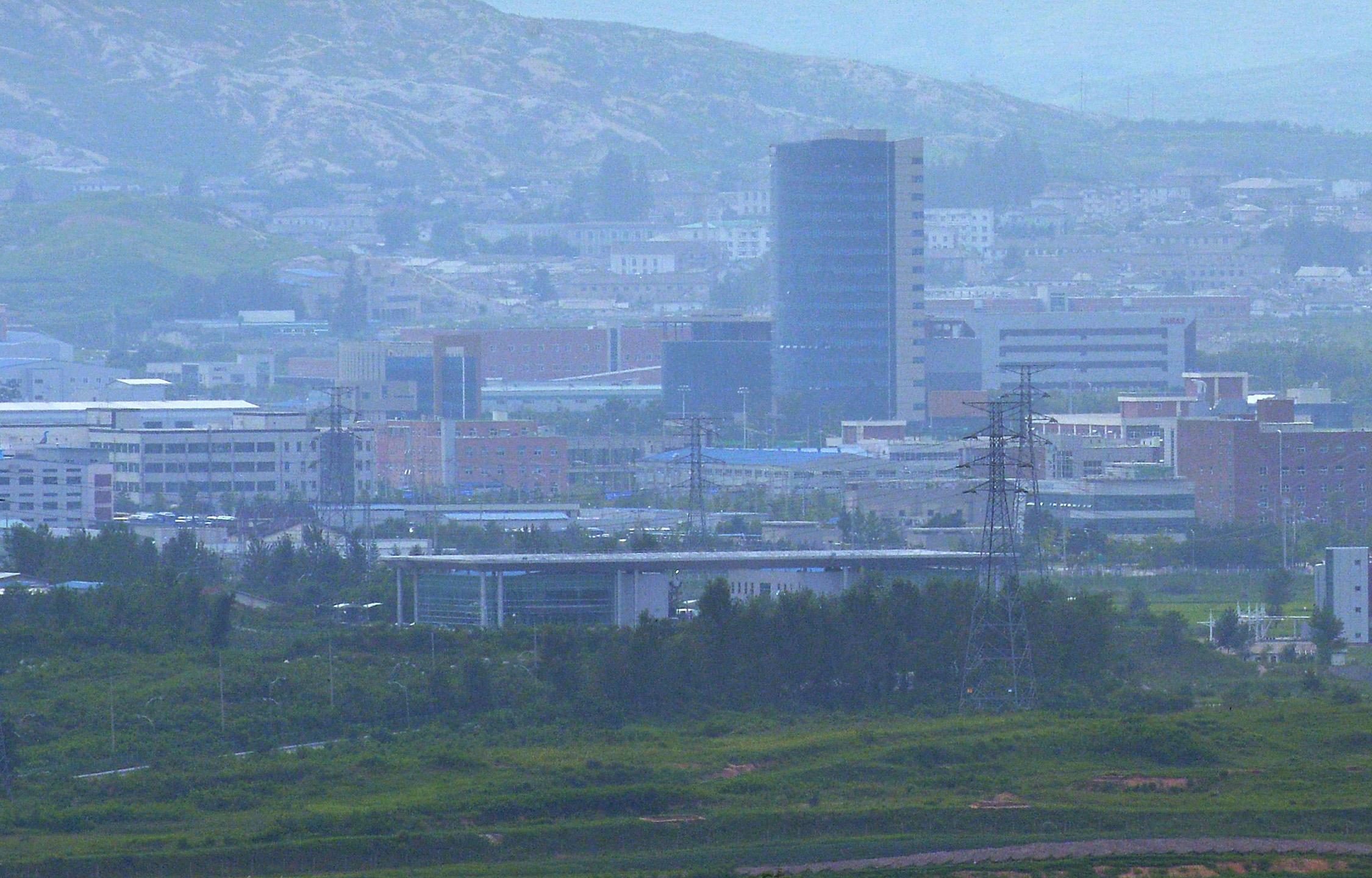 경기도 파주시 비무장지대 내 도라전망대에서 바라본 개성공단 모습